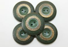 5 forest green leather buttons with gold circle design $7.00 USD