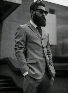 Ricki Hall suited up like a beast beautiful full thick dark beard and mustache beards bearded man men mens' style model fashion suit and tie dapper bearding Beard Styles For Men, Hair And Beard Styles, Long Hair Styles, Great Beards, Awesome Beards, Hipster Hairstyles Men, Hipster Haircut, Sexy Bart, Old School Style