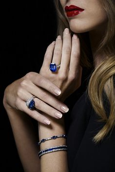 Sapphire and diamond rings and bracelets. #ChristiesJewels #Sapphires