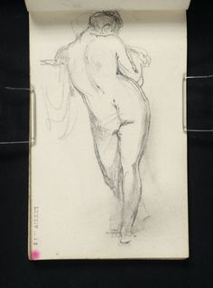 Joseph Mallord William Turner 'A Nude Woman Standing, Seen from Behind, Left Shoulder Resting on a Parapet',   --  From Academies Sketchbook  -  c.1800–7  -  Graphite on paper -  Dimensions Support: 119 x 73 mm -  Collection -  Tate