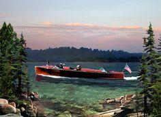 Garwood Boat Poster Vintage Wooden Boat Garwood Artist Paul Bailey 5174