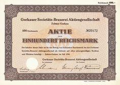 Gorkauer Societäts-Brauerei, Zobten-Gorkau, 100 RM Aktie von 1938 + SEHR SELTEN!