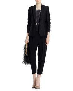 Stella McCartney Halo Dot Jacquard Jacket, Landscape-Print Sweater & Charlotte Clean Front Stretch Cady Ankle Pants Fall 2015