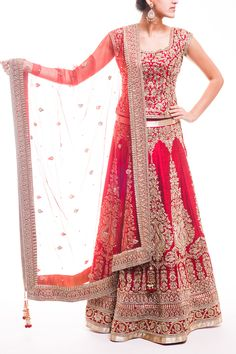 Deep Red Bridal Lehenga - waliajoness - 1