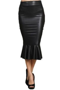 ef15f30fdd612 Women Plus Size XXS-5XL 8XL Black Fitted PU Faux Leather Skirt with Trumpet  Fishtail