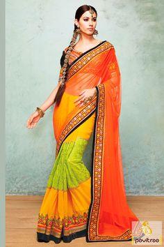 Pavitraa Yellow, Orange and Lime Party Wear Sarees #lehengastylesaree #sareeonline #sareeshopping