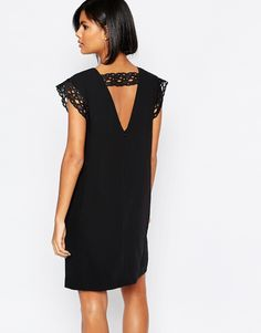 Reiss Cayane Backless Shift Dress with Lace Trim