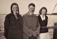 "Adolf Hitler with his two half nieces; Angela ""Geli"" Raubal and Elfriede Raubal"