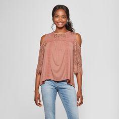 8bb54e8288974 Women s Lace Sleeve Cold Shoulder Knit Top - Xhilaration Pink S