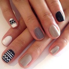 Shades of gray have never been so sweet with this novel work of nail art pinned by Ashlee Sara Jones. #nails #nailsoftheday