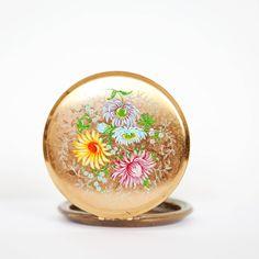 Vintage Stratton Mirror Compact, Floral Design