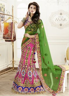 Awesome Heavy embroidered #designer #lehengacholi comes with green net #dupatta.