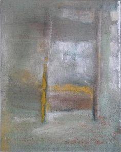 Sebastian Böhm, Berlin Moabit, Sickingenstraße, Hochbett,  Pigment, Hautleim, Öl, Kohle, Jute, Fichte, Lack, 2012,  30 x 38 x 5 cm
