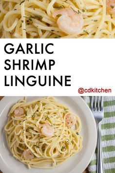 Made with linguine pasta, butter, white wine, Parmesan cheese, garlic, fresh parsley, salt and pepper, shrimp | CDKitchen.com