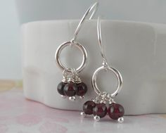 Sterling Silver Garnet Earrings Little Dainty Lau by aroluna