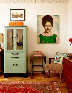 Green medical cabinet & typewriter:ebay, picture, original found on etsy...