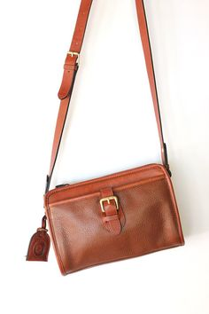 39d88fcc3ba3 Vintage 80s Brown Leather Purse - Classic Cross Body Rectangle Bag
