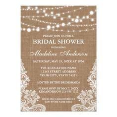 #bridal #shower #invitations - #Rustic Burlap String Lights Lace Bridal Shower Card