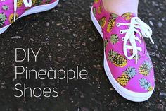 Our April Guest of the Month, Sea Lemon, is taking part in this week's White Shoes DIY Challenge, and she knocked it out the park with these cute pineapple s. Cute Pineapple, Pineapple Print, Diy Videos, White Shoes, Hgtv, Summer Shoes, Dorm Room, Diy Tutorial, Diy Clothes