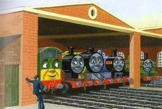 James and the Diesel Engines -  This book features the last appearance of the old Tidmouth Sheds with eight berths.