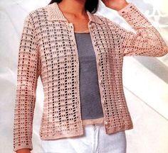 Crochet Jacket ~ Diagrams/Charts Only Crochet Woman, Love Crochet, Beautiful Crochet, Hand Crochet, Crochet Top, Chunky Knitting Patterns, Crochet Cardigan Pattern, Crochet Jacket, Crochet Patterns