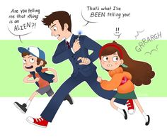 Gravity Falls meets Doctor Who. Everyone put this up everywhere until Alex Hirsch sees it!
