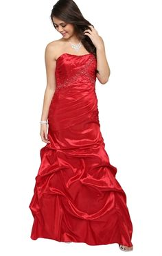 Strapless Long Prom Dress with Ruched Bodice and Slim Pick Up Skirt