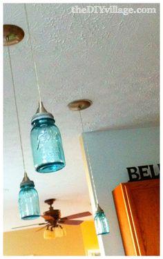 How to DIY a Ball Mason Jar Pendant Light; Tutorial with Skaggs Skaggs @ theDIYvillage Mason Jar Pendant Light, Diy Mason Jar Lights, Pot Mason Diy, Diy Pendant Light, Ball Mason Jars, Mason Jar Lighting, Mason Jar Crafts, Mason Jar Lamp, Pendant Lighting