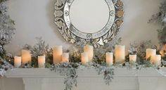 RAZ Christmas at Shelley B Home and Holiday: Winter Candles on a Christmas Mantel