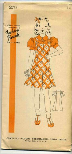 Vintage 1940's Chicago Tribune Fashion Parade Pattern 6015 Girl's Dress Sz 10…