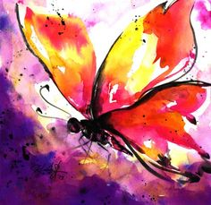 "ARTFINDER: Butterfly No. 5 by Kathy Morton Stanion - Original Abstract Watercolor of a Monarch Butterfly (Listing is for this painting only, first image). Size: 12"" x 12"" Format: UNFRAMED, Frame & mat n..."