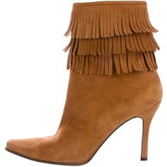 Pre-owned Stuart Weitzman Fringe Suede Ankle Boots (€115) ❤ liked on Polyvore featuring shoes, boots, ankle booties, brown, short brown boots, brown fringe boots, brown booties, suede booties and suede ankle boots
