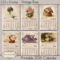 NEW - Printable 2016 Calendar - Vintage Roses and Flowers - INSTANT DOWNLOAD - 5.00 by opticillusions on Etsy https://www.etsy.com/au/listing/62935532/new-printable-2016-calendar-vintage