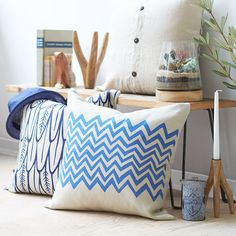 True Blue: Feathers Pillow in Deep Indigo + Charlie pillow in Azure Blue   LINT and HONEY