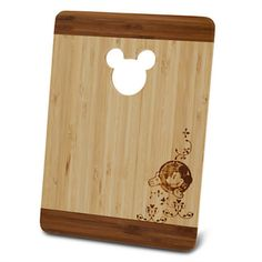 disney parks mickey mouse cut out bamboo cutting board new sealed