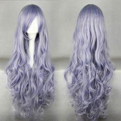 Y227 Sexy Popular Maiden Wavy Light Purple Anime Cosplay Wig Free Wig Cap | eBay