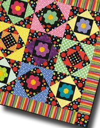 Everything old is new again with  Grandma's Flower Garden blocks and updated brights!