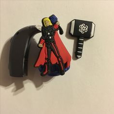 Thor hearing aid charms by Moni's Blings! #hearingaids #phonak #otocon #hearingaidcharms #diy #deaf #hardofhearing #deafchildren #avengers #charms  #pimpmyhearingaids