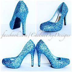 Glitter High Heels - Light Blue Pumps -Aqua Turquoise Ice Calypso - Black Satin Bows - Blue Wedding Shoes - Sparkly Prom Heels