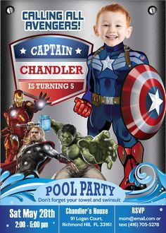 Pool Party Captain America Birthday Invitation. Your kid as Captain America in his own Birthday Invitation. Your kid can be an Avenger! #CaptainAmericaBirthday #CaptainAmericanPoolParty #CaptainAmericaInvitations #CaptainAmericaPoolPartyInvitation #PoolPartyCaptainAmerica #PoolParty #myheroathome