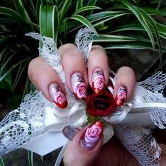 Today I present you a big nail art picture collection called 37 Cute Nail Art Designs with pictures of perfect manicure ideas by professional. French Manicure Nail Designs, Fingernail Designs, Cute Nail Art Designs, Nails Design, Rose Nail Art, Rose Nails, Funky Nail Art, Nail Art Diy, Art Nails