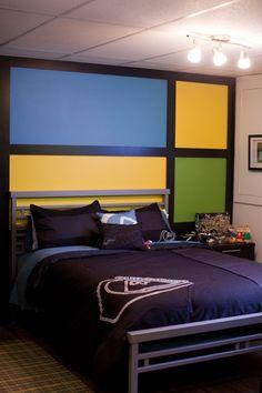 Chambre pour jeune garçon, Design d'intérieur, chambre sportive, jaune vert bleu, décoration, garçon, Le jardin d'Andrée-Anne, www.lejardin.ca
