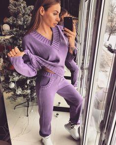 Очень теплый мягкий вязаный женский костюм фиолетовый