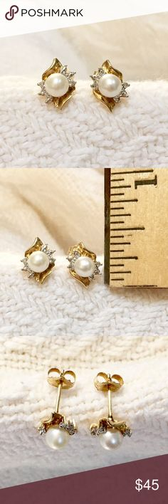 Solid 10k gold pearl & diamond 💎 earrings Gorgeous pair of earrings with diamonds and pearls. The pearls are 4mm in diameter.  There are 4 natural diamonds, 1 point each, about .04 carats total weight.  The earrings are solid 10k yellow gold, stamped on earrings and backs.  The earrings are 3/8ths of an inch tall.  Very good condition. Jewelry Earrings