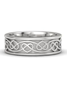 White Gold Ring - Celtic Heart Band: An endless strand of hearts, knotted in an unending double braid, elegantly symbolizes two hearts tied together into one life. Celtic Rings, Celtic Wedding Rings, Diamond Wedding Rings, Celtic Knot, Wedding Bands, Celtic Heart, Diamond Stacking Rings, Best Jewelry Stores, Yellow Gold Rings