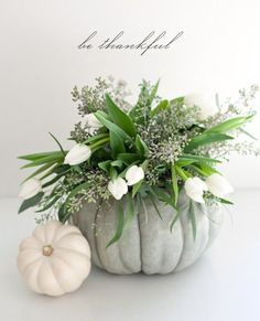 Fun idea to use white pumpkins and lighter colored pumpkins which you could transition into the next holiday too. Glittered pumpkins for Christmas is gorgeous!