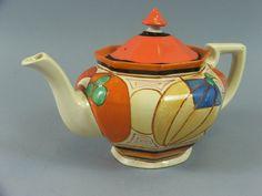 Clarice Cliff Athens shape teapot in Melon [Picasso???] pattern, c. ??????, handpainted enamel on glaze, ceramic, UK