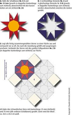 English Paper Piecing Tutorial Instructions Swedish star Star of Sweden
