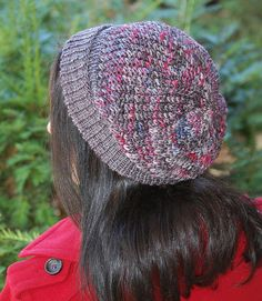"""Ravelry: The Way You Wear Your Hat dk by Mary Annarella, designed specifically with variegated yarns in mind: """"That variegated skein of yarn in your stash that you aren't quite sure what to do with? The one that might stripe or splotch or pool in stockinette stitch? This design was created with such variegated colorways in mind. The stacks of twisted, faux-cables on the body of the hat ease the striping, and give an almost-woven look to the fabric while breaking up the pooling considerably."""""""