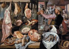 Butcher Shop 1568 Cuts Of Meat Still Life Painting By Joachim Beuckelaer Repro Renaissance Food, Art Gallery, Roman Sculpture, Butcher Shop, Art Courses, Grand Palais, Working Woman, National Museum, Les Oeuvres